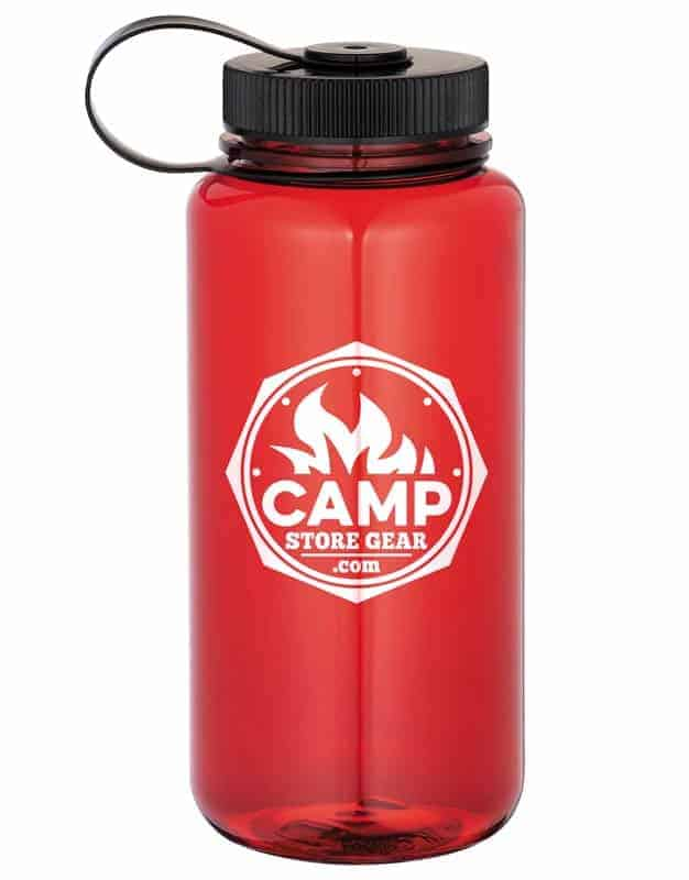 Image of a red Hardy 30 Oz. Tritan Sports Bottle with black twist-on lid, featuring a 1 color custom imprint in white.