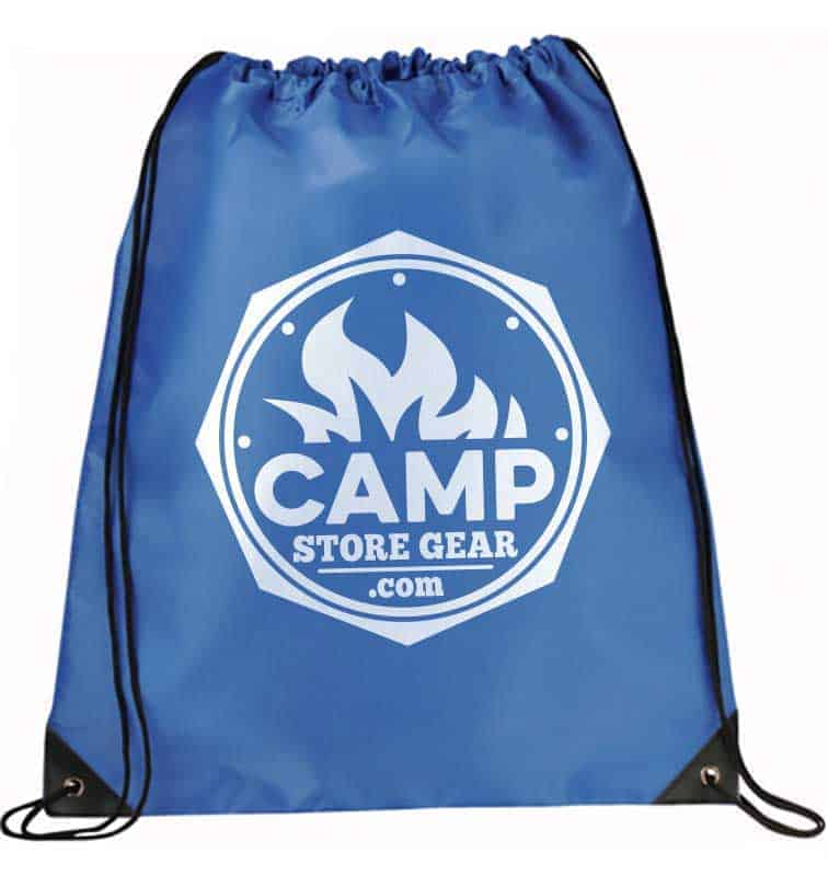 Studio image of a custom printed drawstring bag in blue with a white logo printed on it.