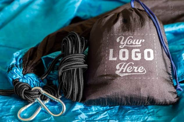 product image of black and light blue custom hammocks with logo on pouch get custom hammocks as low as  19 99  with your logo on pouch   rh   campstoregear